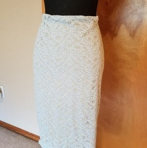 Worthington baby blue and cream lace pencil skirt